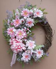 """20"""" Pink Purple Floral Door Grapevine Wreath Handmade"""