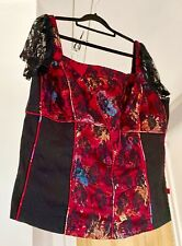TRIPP NYC Corset Style Lace Red Black Goth Vampire Sexy Strap Size 2