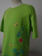 """Superfine Women's Spring Theme Green Shirt """"One Size Fits All  """" Chest 46"""" - EUC"""