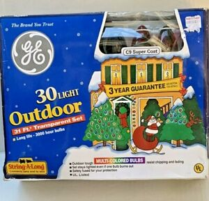 Vintage GE 30 Light Outdoor Christmas Multi-Colored Bulbs 31 Foot String Lights