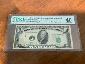 Fr# 2013-E $10 1950C PMG 40 Extremely Fine Error Note