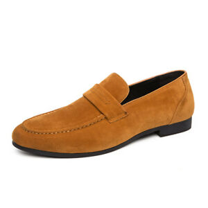 Retro Mens Low Top Leisure Leather Shoes Pointy Toe Slip on Loafers Nightclub Sz