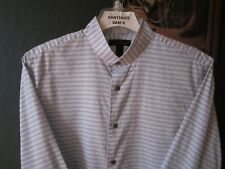 LARGE FITTED 16/16.5-35/36 COTTON EXPRESS STUDIO BANDED COLLARLESS WESTERN SHIRT