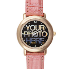 Pink Leather Custom Printed Watch Picture Personalised Image Logo Photo Gift