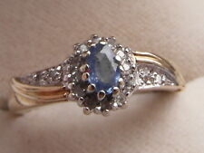 Q109  Ladies 9ct gold Tanzanite and Diamond engagement ring size P