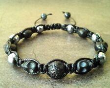 Mens beaded shamballa bracelet Lava Hematite Skull stone wristband cuff jewelry
