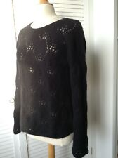Queenie black 4ply cashmere lace knit jumper L