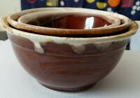 "Vintage set of 3 oven proof bowls mixing baking serving stoneware glazed 6,7&8"""