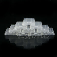 10 Pcs Hard Plastic Clear Case Cover Holder Storage Box for 4AA Battery