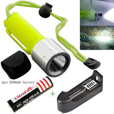 T6 LED Light Scuba Diving Flashlight Underwater 60M Waterproof Battery Charger
