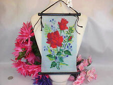 Glass Seed Beaded, Hand loomed Red Rose Wall Hanging.  Hancrafted 1 of a Kind