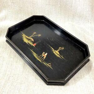 Antique Art Deco Wooden Tray Hand Painted Ebony Wood Egyptian Landscape Egypt
