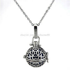 V169 Vintage Copper Multi Flower Locket Necklace Stone Bead Cage Stainless Chain