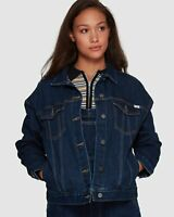 RVCA Slouched Denim Jacket BNWT Women's Size 8 Dark Blue Pockets RRP $119.95