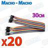 20 Cables 30cm Macho Macho jumper dupont 2,54 arduino protoboar cable