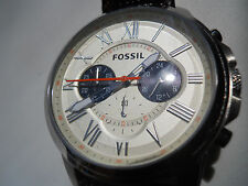 New Fossil mens chronograph leather band Analog,Quartz & battery watch.Fs-5021