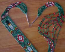 "NICE PATTERN Handmade Beaded Navajo Rug Necklace ""Red Coral"" 8 Strands Ms. John"