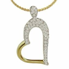 Pave 0.60 Cts Round Brilliant Cut Diamonds Pendant In Solid Certified 14K Gold