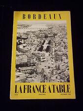 Bordeaux la France à Table 1958 Livre de cuisine recettes Bordelaise Gastronomie