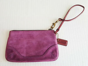 "COACH Suede Wristlet Mauve Purple Small LOGO Fabric Lining Leather Strap 6"" x 4"""