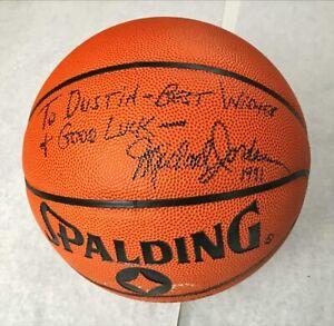 "Michael Jordan Signed Autograph Spalding Basketball BULLS ""TO DUSTIN "" NO COA"