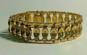 HEAVY 18,CT GOLD BAR LINK LADIES 7.1/2.INCHES LONG BRACELET, 28,GRAMS,