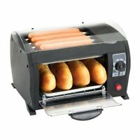 Global Gourmet Hot Dog Toaster Maker Machine - Electric Bread Grill with Timer
