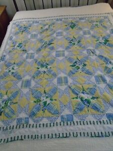 Vintage Hand Quilted Blue Yellow Ohio Star 9 Patch Cutter Quilt Piece 60x62 #521