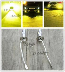 H3 CREE LED Fog Light Bulbs Conversion Kit Super Bright Canbus 3000k yellow 55W