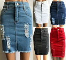 Womens Laser Cut Denim Distressed Mini Skirt Ripped Stretch Bodycon Skirt Short