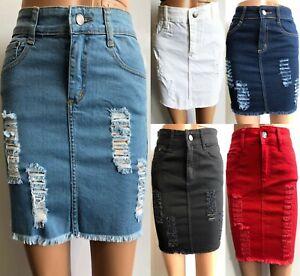 Womens Laser Cut Denim Distressed Mini Skirt Ripped Stretch Bodycon Skirt Short