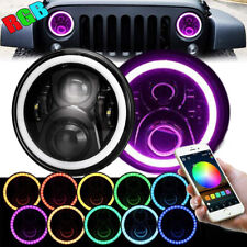RGB 7'' Inch Halo LED Headlights DRL Lights Combo Kit For Jeep Wrangler JK TJ LJ
