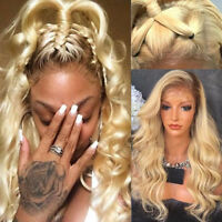 Pre plucked Long Body Wave Blonde Lace Front Wig Indian Human Hair Full Wigs #Q