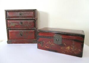 Two  Antique Red Lacquer Japanese Hand Painted trinket boxes, Chest of drawers.