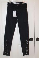 b59402a4eba Women s New W Tags Black ZARA BASIC Embellished Bottom Skinny Jeans Size 34  (2
