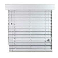 """GMA 2"""" FAUX WOOD Oyster White Smooth PREMIUM BLIND - 24W x 36""""L - (Exact Size)"""