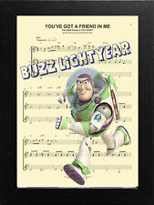 MUSIC SHEET SCORE PAGE ART PRINT POSTER VINTAGE STYLE, TOY STORY BUZZ LIGHTYEAR