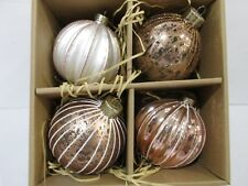 "Gorgeous Christmas Rose Gold Shabby Chic 3.5"" Christmas Ornaments Decor Set of 4"