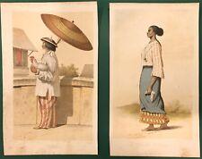 1854 LITHOGRAPH PHILIPPINES TAGAL TAGALSK COSTUME PRINT CHROMOLITHOGRAPH SKOGMAN