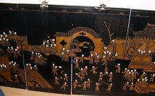 4 VINTAGE CHINESE BLACK LACQUER AND GILT WALL PANELS HANGINGS 100 BOYS LARGE 72""