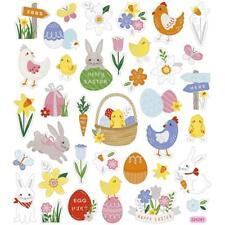 Happy Easter Basket Egg Hen Colourful Glitter Stickers 15cm Embellishments Sheet