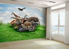 Wild Animals And Birds Collage Wallpaper Mural Photo 23042488 premium paper