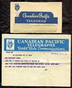 Canada 1950 CP Telegram Cover. Contents. HMCS Cayuga. Korean War    (inv:p0950)