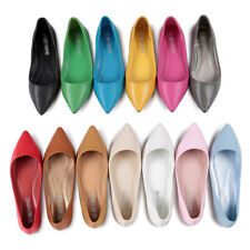 Womens Ladies Point-Toe Flats Multi-Color Slip On Soft Casual Shallow Shoes Size