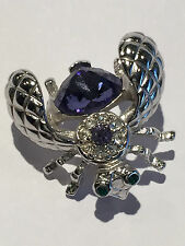 Classic JOAN RIVERS Silvertone BEE PIN Crystal violet Brooch