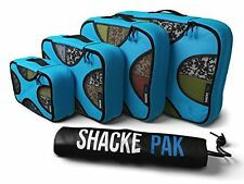 Shacke Pak - 4 Set Packing Cubes - Travel Organizers with Laundry Bag (Aqua