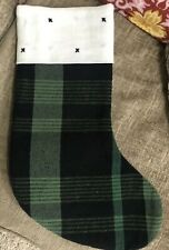 MAGNOLIA BRAND BLACK AND GREEN LINEN CHRISTMAS STOCKING JOANNA & CHIP GAINES