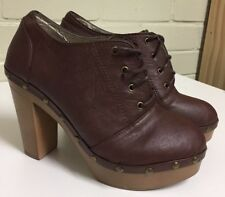 LADIES BROWN LACE UP PLATFORM ANKLE BOOTS SIZE 40 AS NEW
