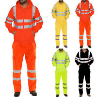 Mens Hi Viz Vis High Visibility Reflective Hoodie Coat Pants Workwear Suit Set