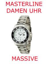 Masterline Diver's Ladies Quartz Watch 20 bar Solid Steel with Magnifier White